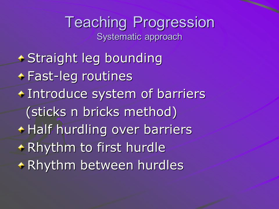 Teaching Progression Systematic approach