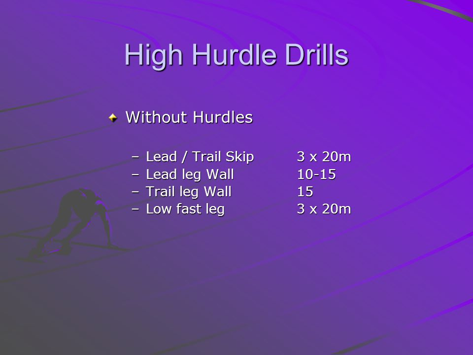 High Hurdle Drills Without Hurdles Lead / Trail Skip 3 x 20m