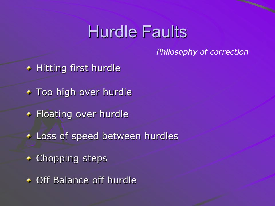 Hurdle Faults Hitting first hurdle Too high over hurdle