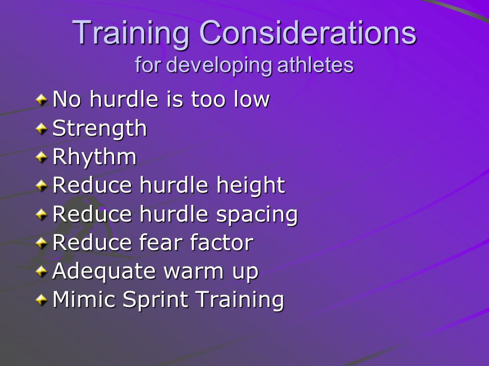 Training Considerations for developing athletes