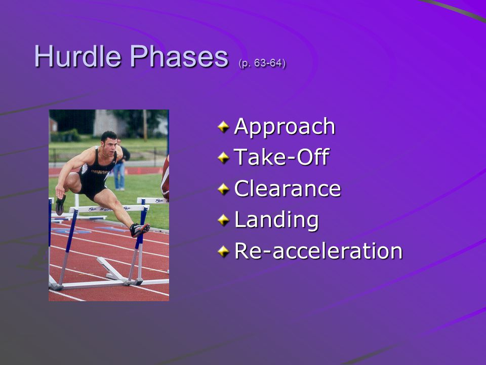 Hurdle Phases (p. 63-64) Approach Take-Off Clearance Landing