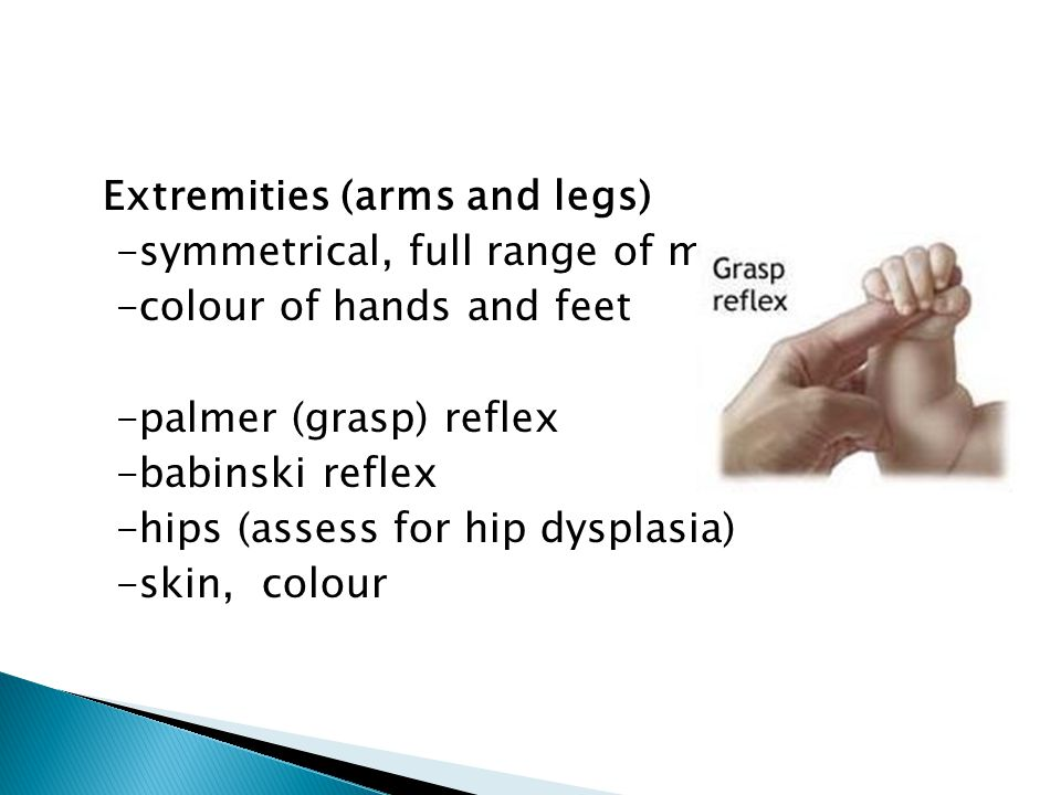 Extremities (arms and legs) -symmetrical, full range of motion -colour of hands and feet -palmer (grasp) reflex -babinski reflex -hips (assess for hip dysplasia) -skin, colour