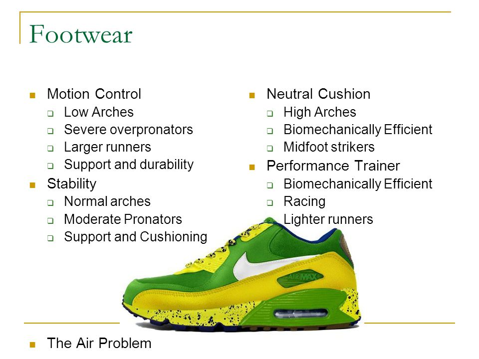 Footwear Motion Control Stability The Air Problem Neutral Cushion