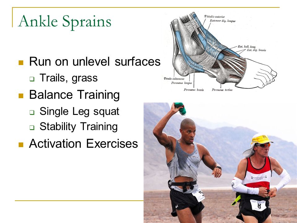 Ankle Sprains Run on unlevel surfaces Balance Training
