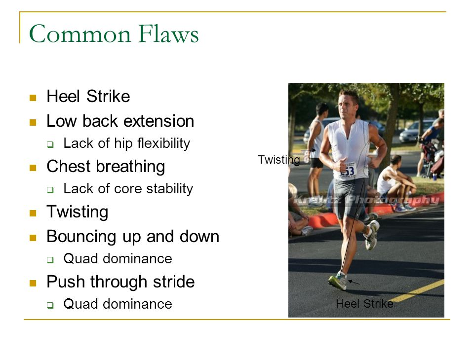 Common Flaws Heel Strike Low back extension Chest breathing Twisting