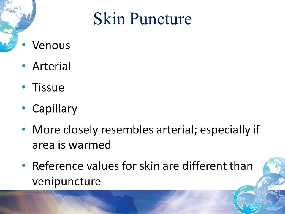 Skin Puncture Venous Arterial Tissue Capillary