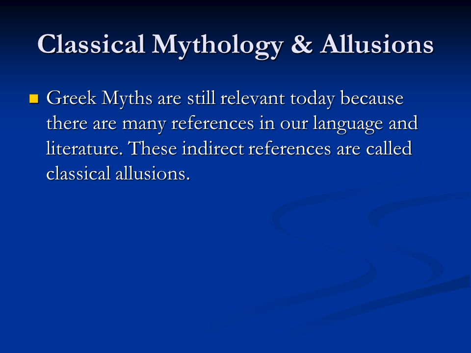 Classical Mythology & Allusions