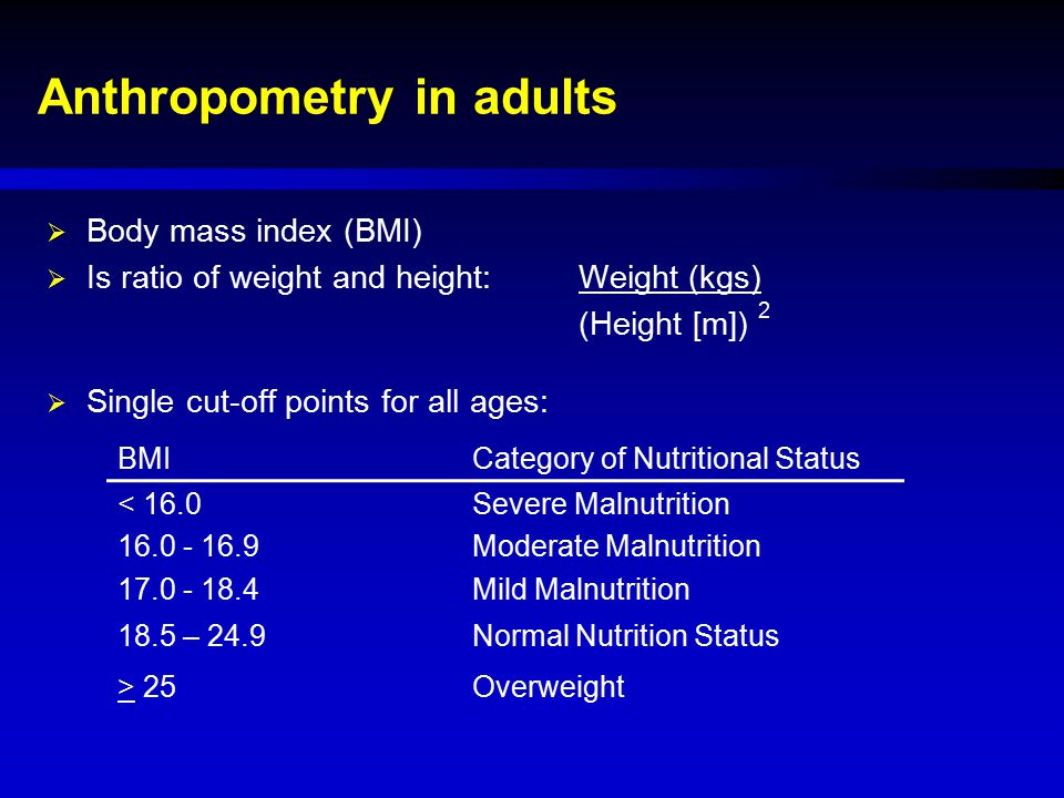 Anthropometry in adults
