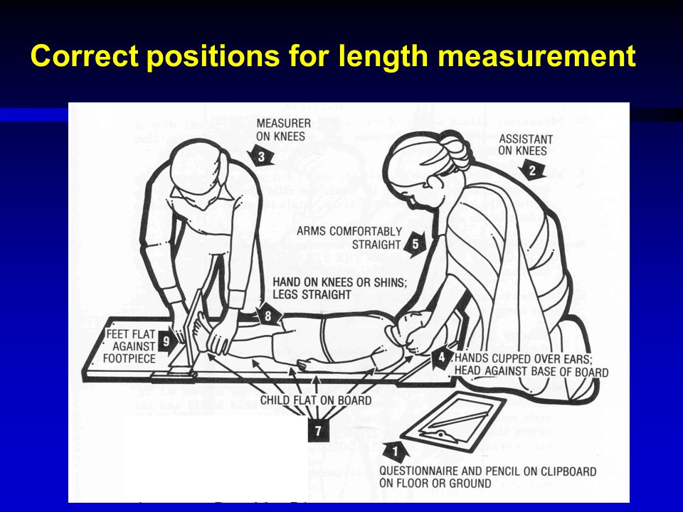 Correct positions for length measurement