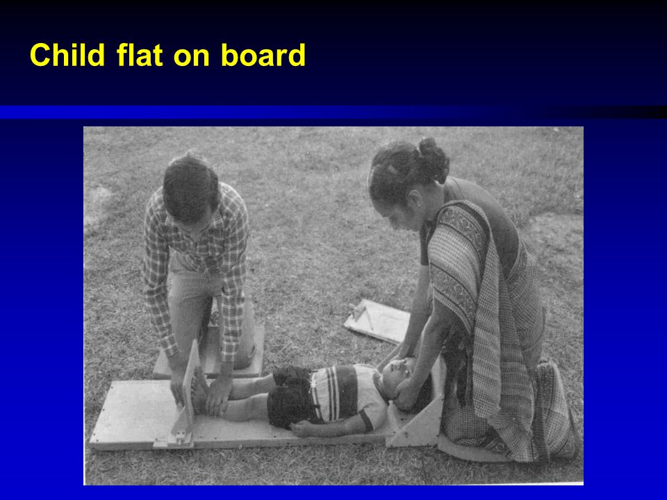 Child flat on board