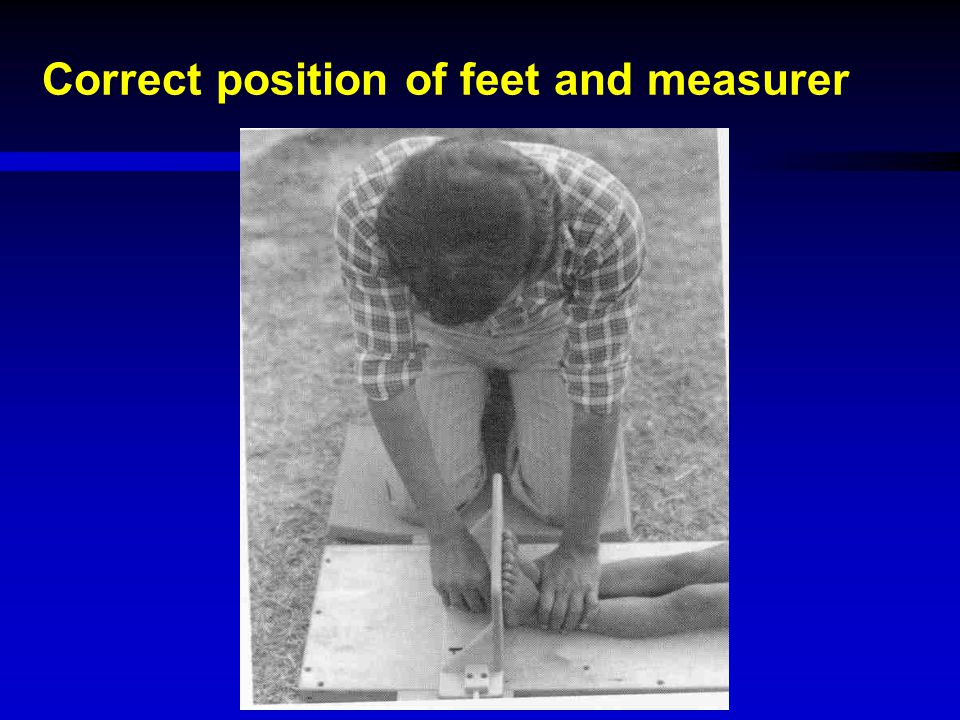 Correct position of feet and measurer