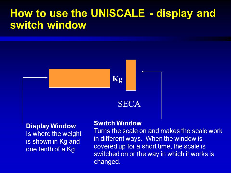 How to use the UNISCALE - display and switch window