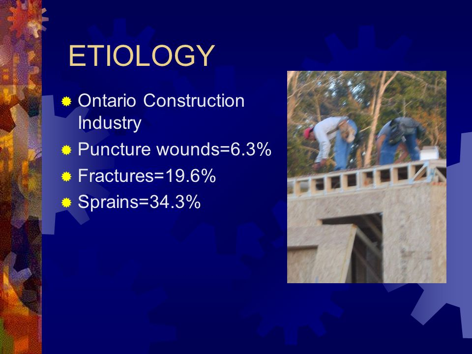 ETIOLOGY Ontario Construction Industry Puncture wounds=6.3%