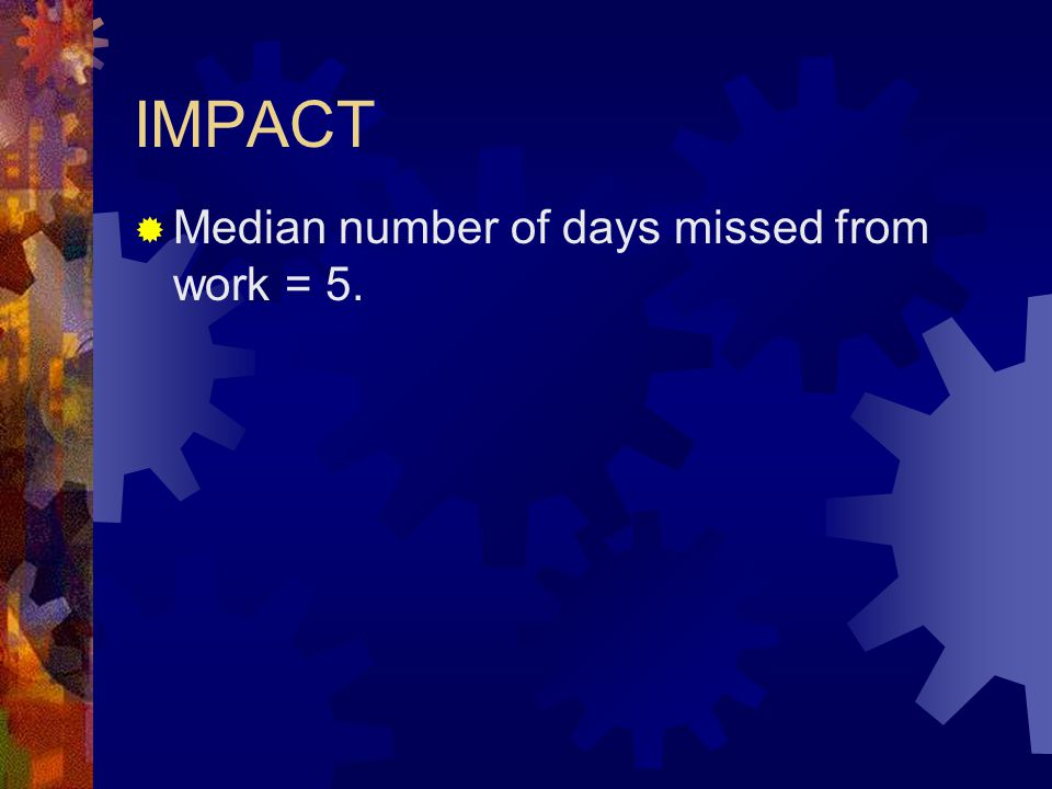 IMPACT Median number of days missed from work = 5.