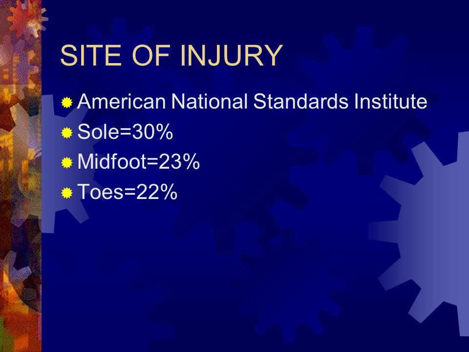 SITE OF INJURY American National Standards Institute Sole=30%