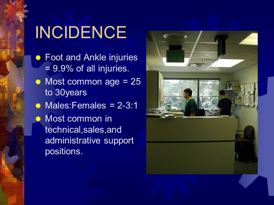 INCIDENCE Foot and Ankle injuries = 9.9% of all injuries.