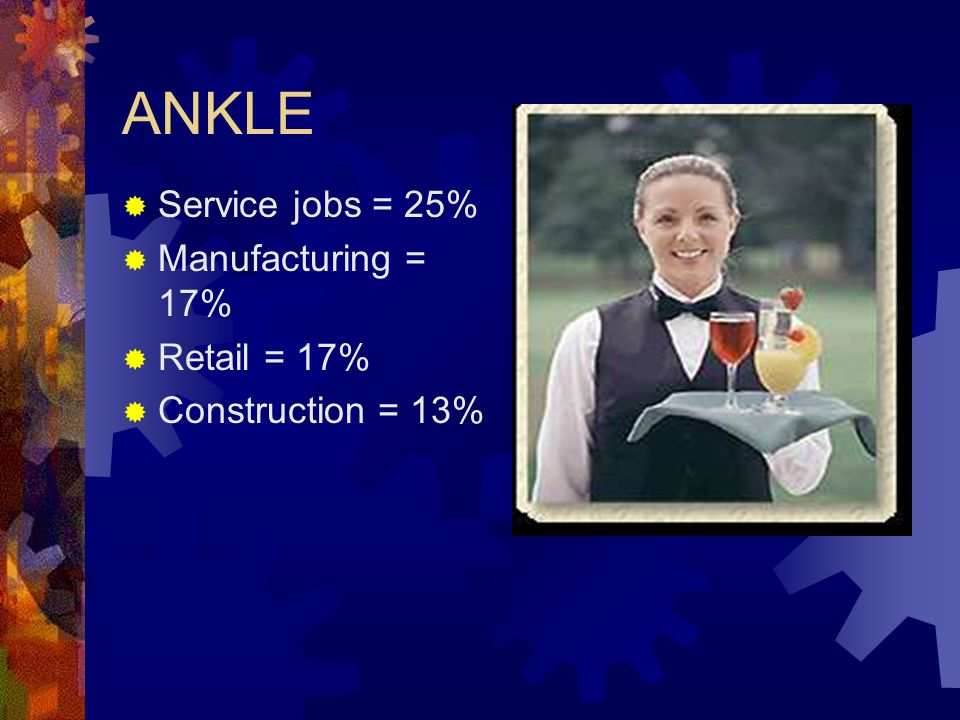 ANKLE Service jobs = 25% Manufacturing = 17% Retail = 17%