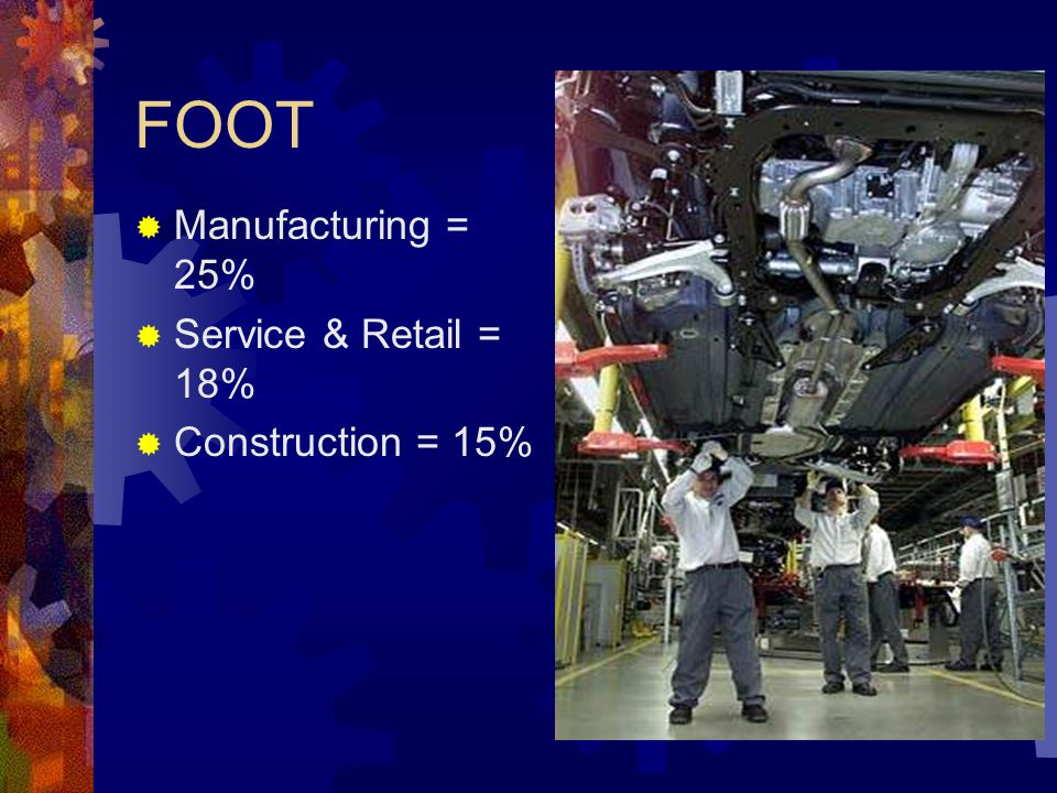 FOOT Manufacturing = 25% Service & Retail = 18% Construction = 15%