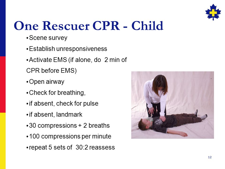 One Rescuer CPR - Child Scene survey Establish unresponsiveness