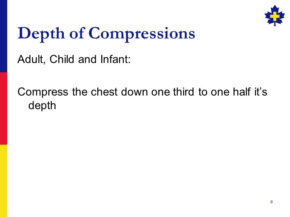 Depth of Compressions Adult, Child and Infant: