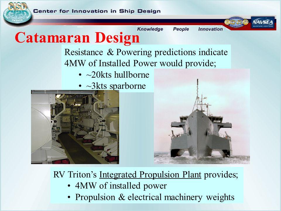 Catamaran Design Resistance & Powering predictions indicate