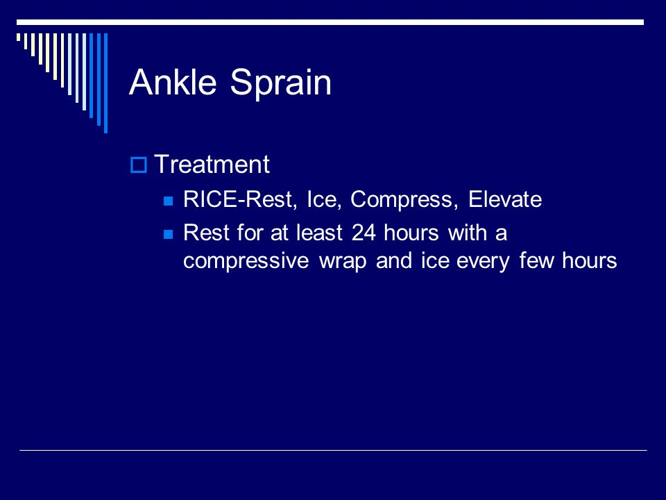 Ankle Sprain Treatment RICE-Rest, Ice, Compress, Elevate