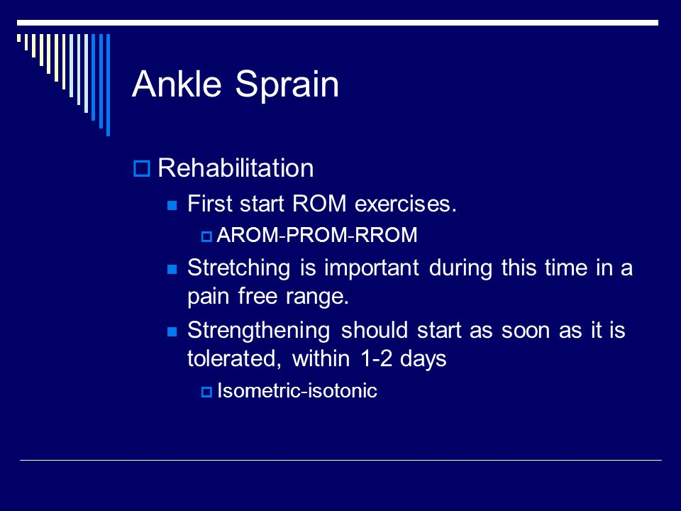 Ankle Sprain Rehabilitation First start ROM exercises.