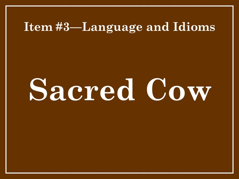 Item #3—Language and Idioms