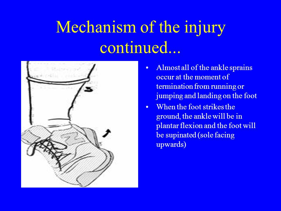 Mechanism of the injury continued...