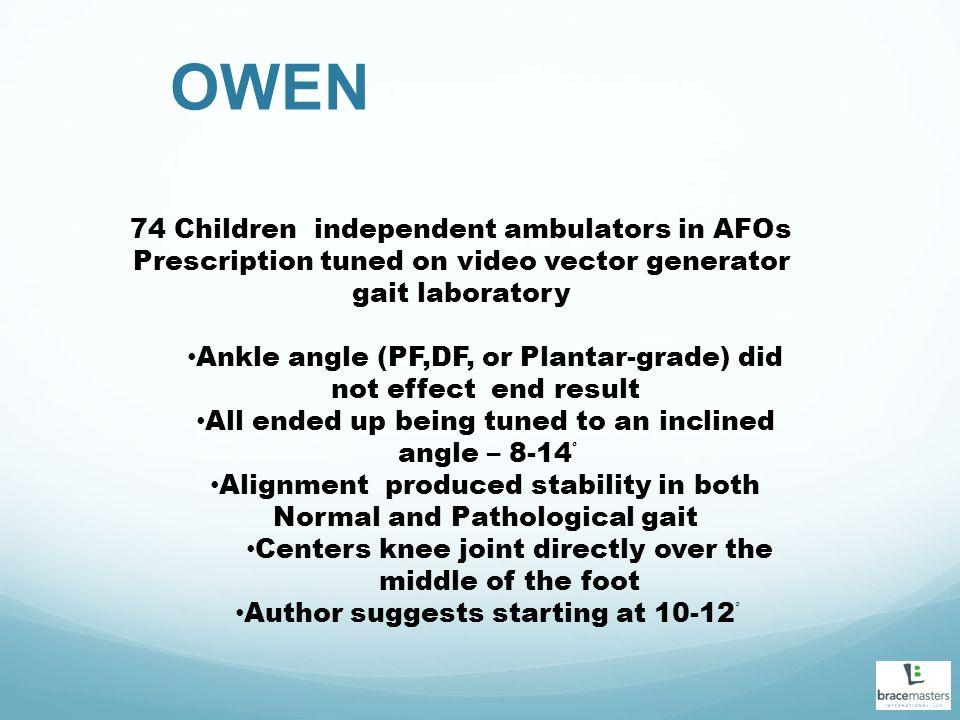 OWEN 74 Children independent ambulators in AFOs