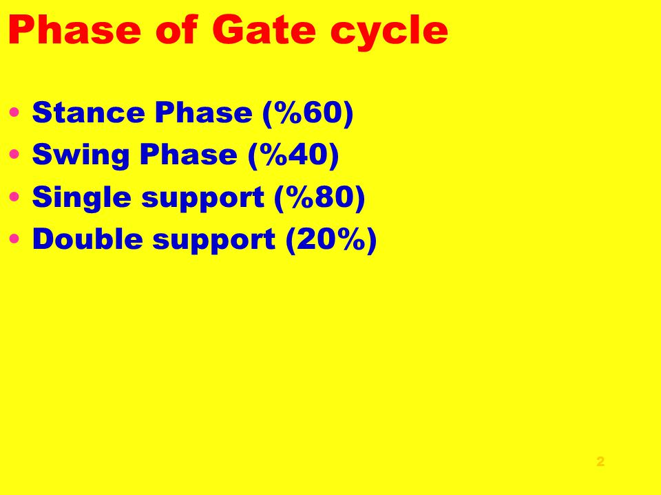 Phase of Gate cycle Stance Phase (%60) Swing Phase (%40)