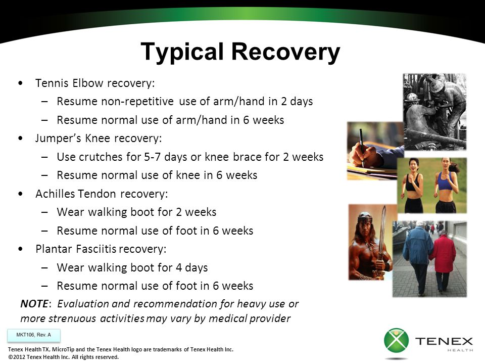 Typical Recovery Tennis Elbow recovery: