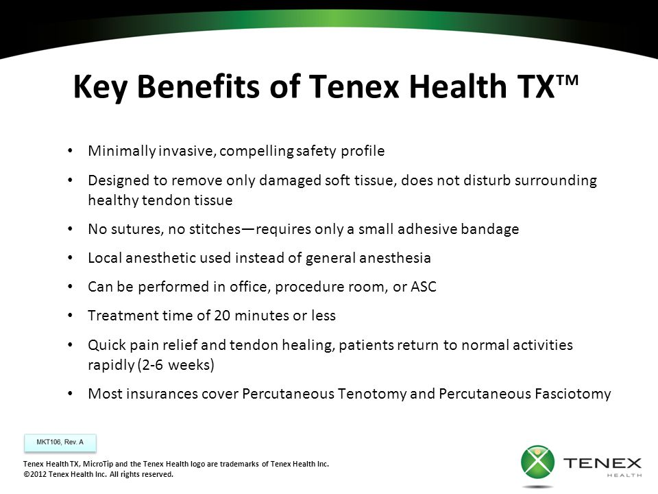 Key Benefits of Tenex Health TX™