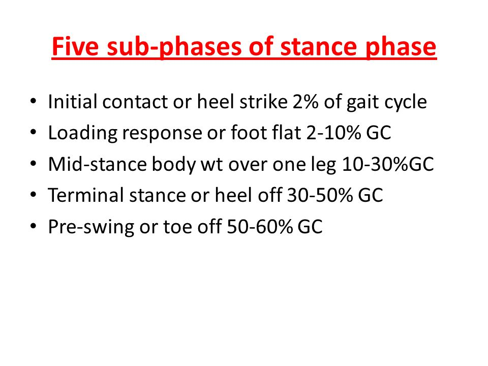 Five sub-phases of stance phase