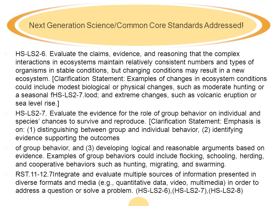 Next Generation Science/Common Core Standards Addressed!