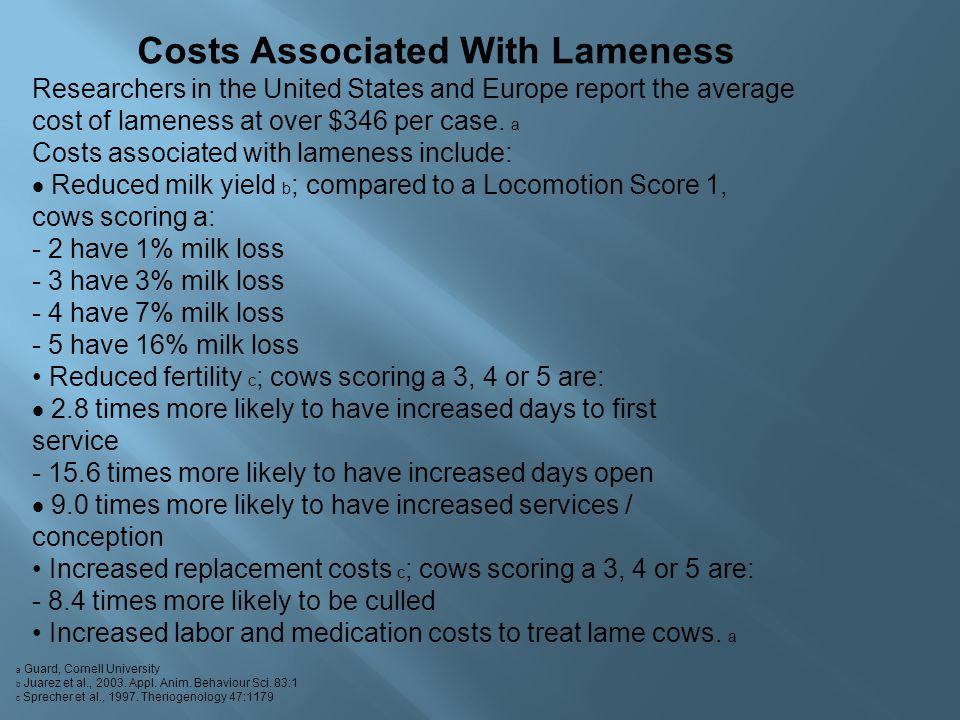 Costs Associated With Lameness