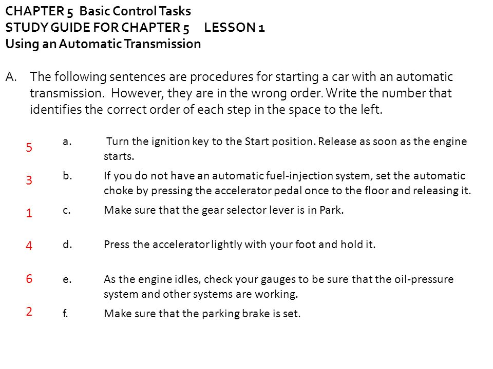 CHAPTER 5 Basic Control Tasks STUDY GUIDE FOR CHAPTER 5 LESSON 1