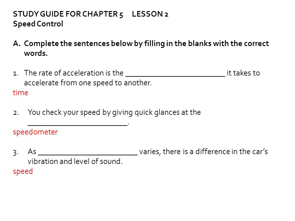 STUDY GUIDE FOR CHAPTER 5 LESSON 2