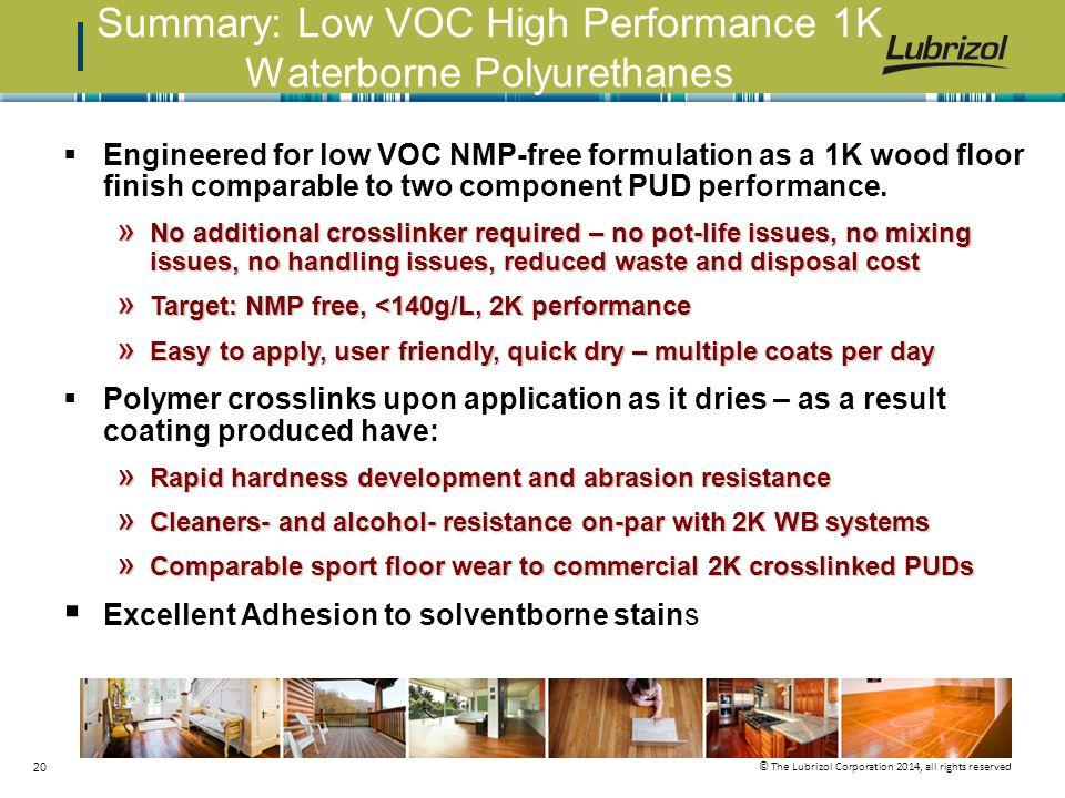 Summary: Low VOC High Performance 1K Waterborne Polyurethanes