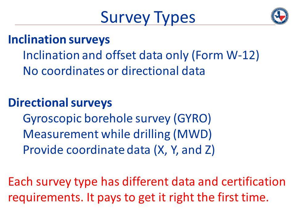 Survey Types Inclination surveys
