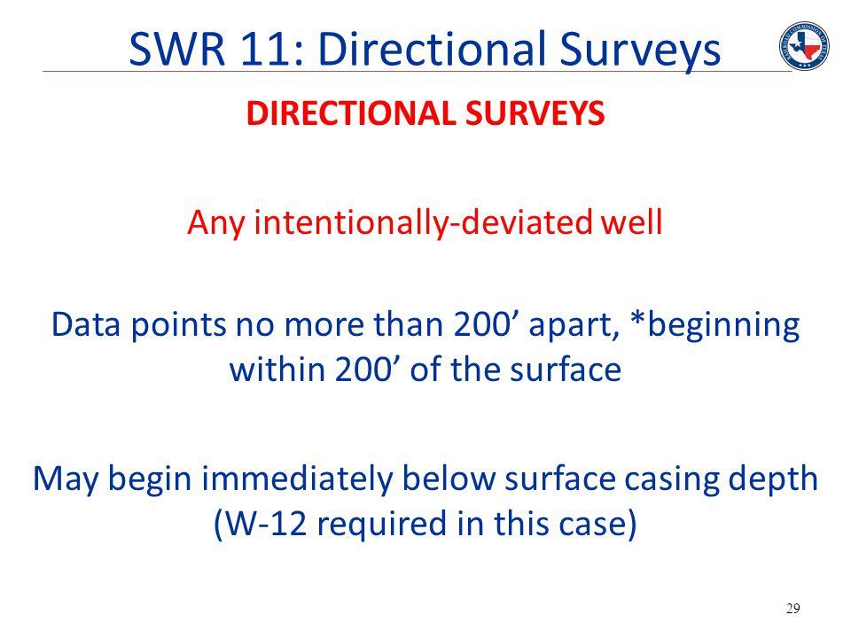 SWR 11: Directional Surveys
