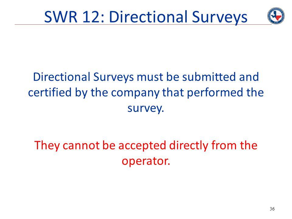SWR 12: Directional Surveys