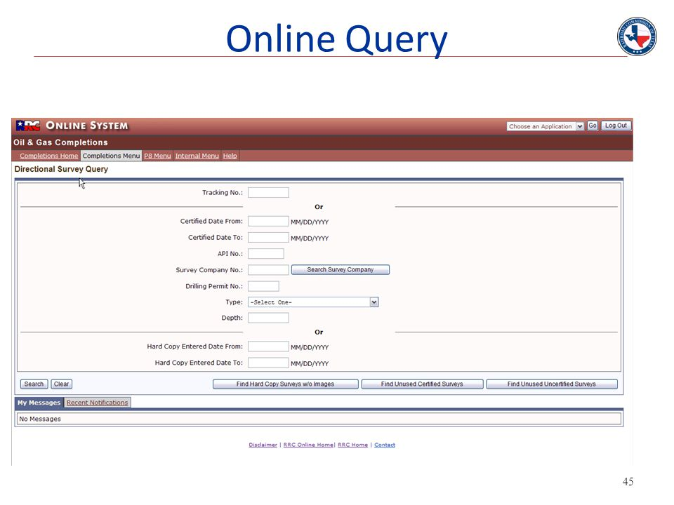 Online Query This is screen shoot of the survey query page.