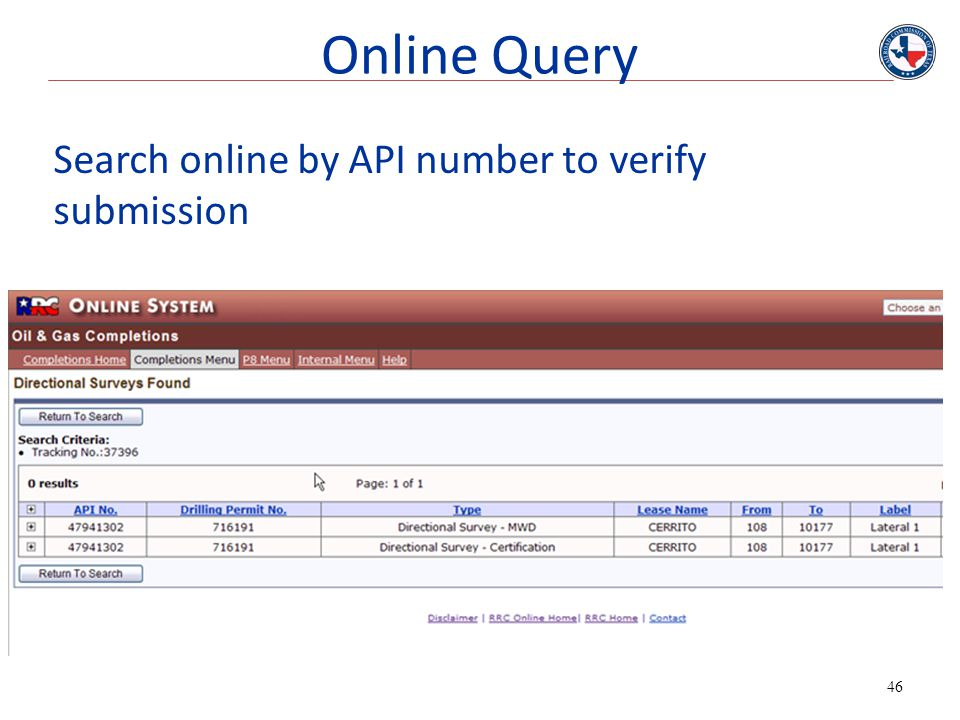 Online Query Search online by API number to verify submission