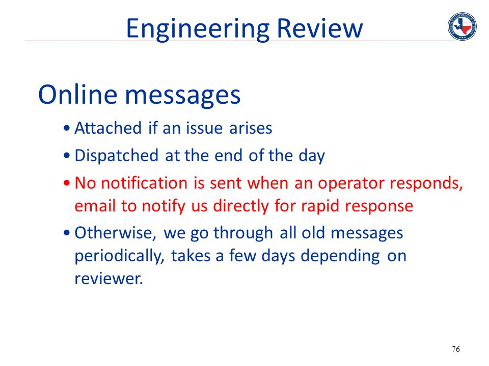Engineering Review Online messages Attached if an issue arises