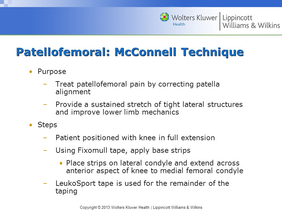Patellofemoral: McConnell Technique