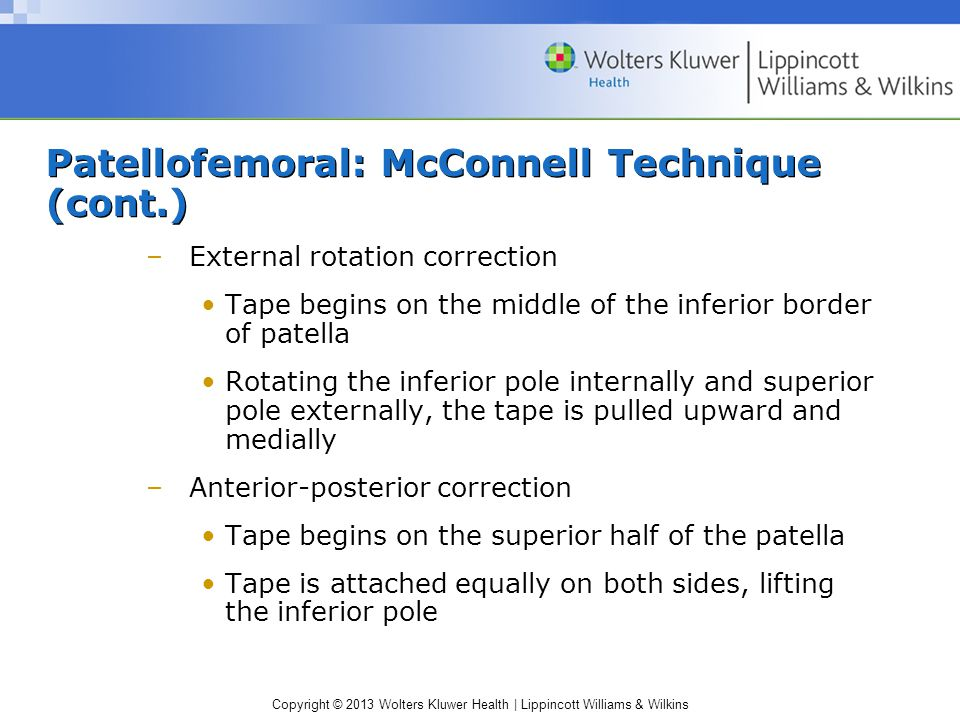 Patellofemoral: McConnell Technique (cont.)