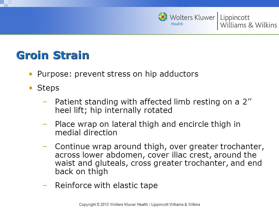 Groin Strain Purpose: prevent stress on hip adductors Steps