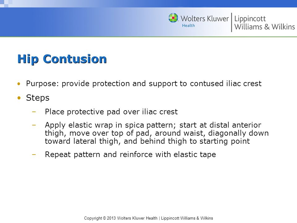 Hip Contusion Purpose: provide protection and support to contused iliac crest. Steps. Place protective pad over iliac crest.