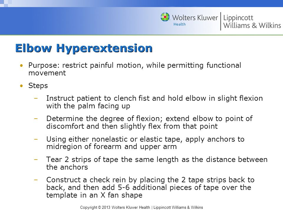 Elbow Hyperextension Purpose: restrict painful motion, while permitting functional movement. Steps.